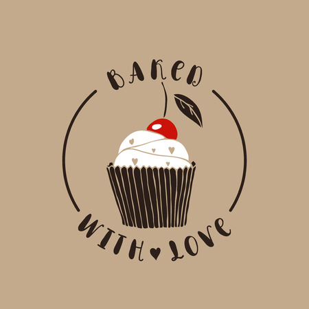 baked: Baked with love. Bakery vector logotype. Hand drawn cupcake.