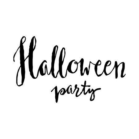 halloween invitation: Halloween party lettering. Halloween invitation template.