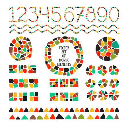 Bright mosaic texture. Vector isolated circle, square, triangle, border, numbers for decoration. Ceramic tile texture. Easy to recolor.