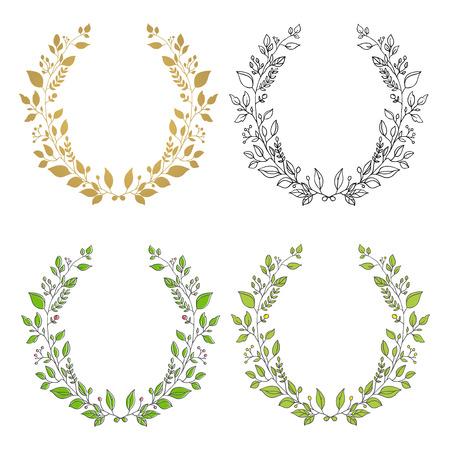 Set van kransen. Geïsoleerde bloemen krans. Leuk ontwerp element voor de wenskaart, bruiloft uitnodiging.