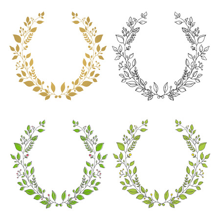 Set of wreaths. Isolated floral wreath. Cute design element for greeting card, wedding invitation. Illustration