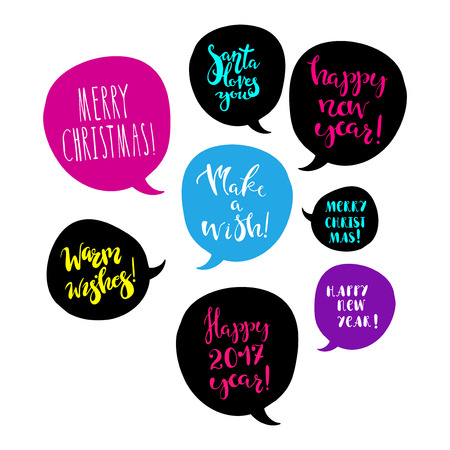 Merry christmas and happy new year greetings in speech bubbles merry christmas and happy new year greetings in speech bubbles bright design element for poster m4hsunfo