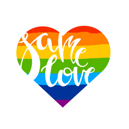 homophobia: Same love. Poster with brush drawn rough stripes on white background in rainbow colors and in heart shape. LGBT culture sign. Gay pride design element.