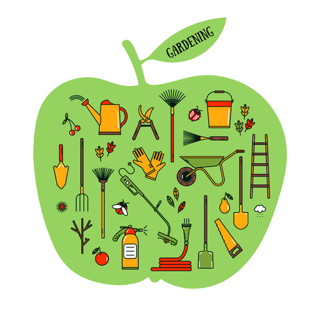 Set of vector garden tools in bright colors. Illustration