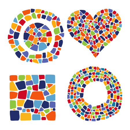 Set of Mosaic objects in different forms on white background. Ceramic tile texture. Easy to recolor.