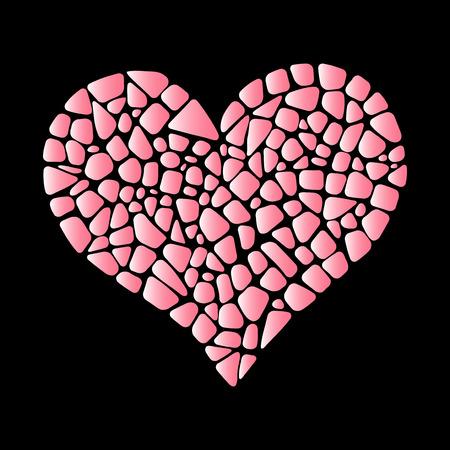 Mosaic pink heart. Gradient pink color. Romantic design. Ceramic tile texture.
