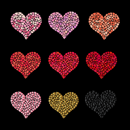 Set of 9 mosaic hearts. Collection for romantic design. Easy to recolor hearts. Ceramic tile texture.