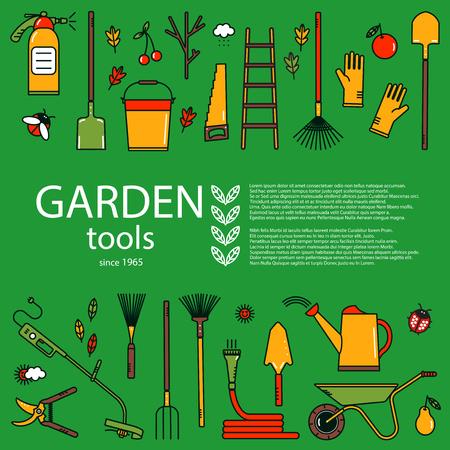 Set of vector working tools. Garden equipment concept in bright colors. Design element for advertisement.