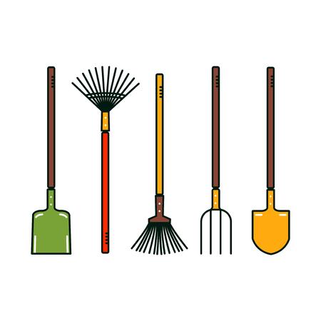 Isolated garden tools on white background. Vector spade, broom, prong, shovel. Farm equipment. Иллюстрация