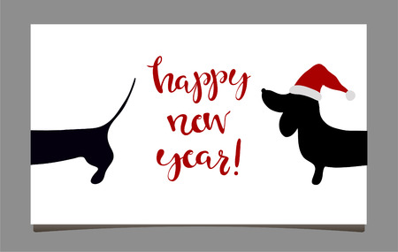 Happy new year greeting cards with dachshund symbol of 2018 happy new year greeting cards with dachshund symbol of 2018 hand written lettering happy m4hsunfo