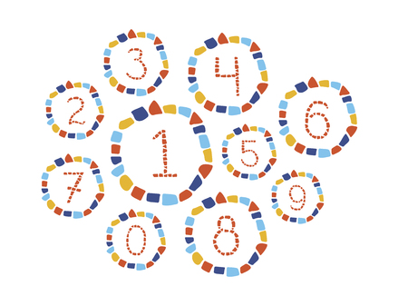Isolated mosaic numbers in frame from 0 to 9. Ceramic tile texture. Easy to recolor. Illustration