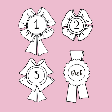 Hand drawn award ribbon set. Contour drawing. Design element for winner congratulation.