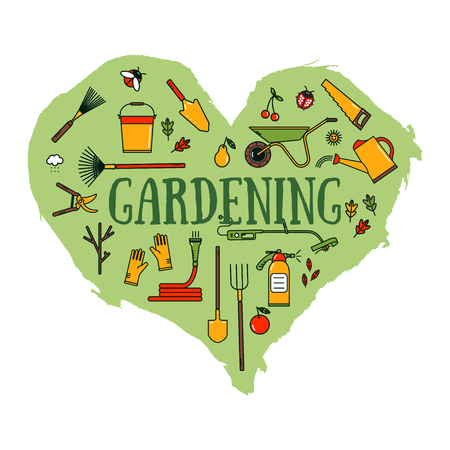 Set of garden tools on green heart shape background. Colored working equipment. Line style icons.