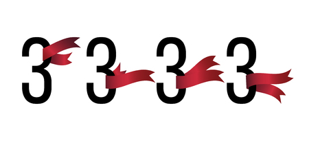 Set of number 3 symbols with red ribbons on white background. Award ribbon.