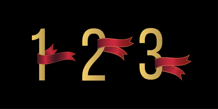 Set of number 1, 2, 3 symbols with red ribbons on black background. Award ribbon. Design element for greeting card, anniversary event, promotion.