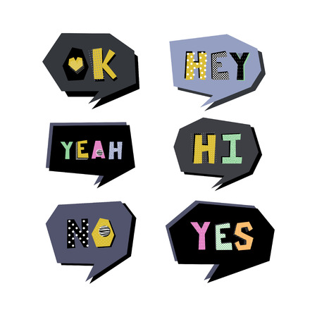 Speech bubbles with short text phrases in colorful letters