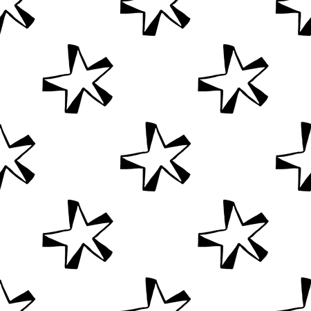 Pattern with hand drawn stars. Doodle style. Design element for Black and white vector illustration.