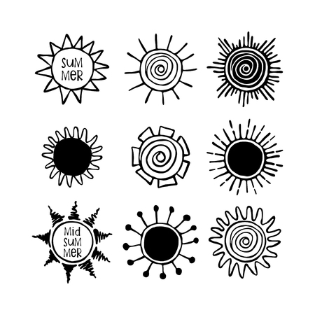 Set of hand drawn suns. Doodle drawing.Summer, Midsummer lettering.