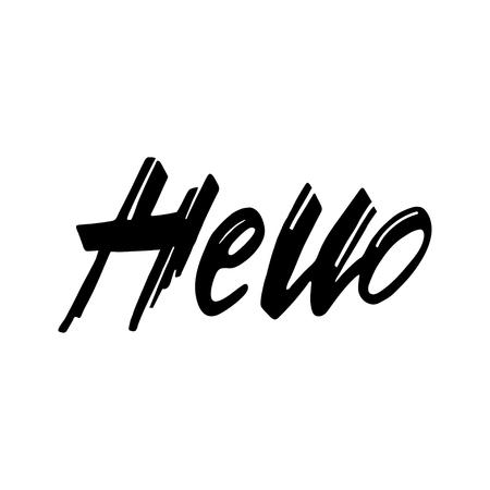 Hand drawn lettering with Hello phrase. Design element for poster, t-shirt print. Illusztráció