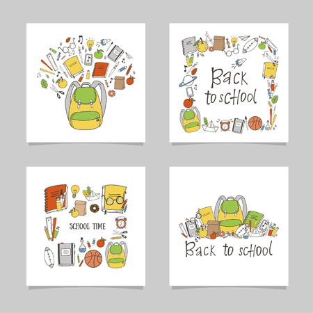 Set of hand drawn school. Cartoon style. Isolated objects.