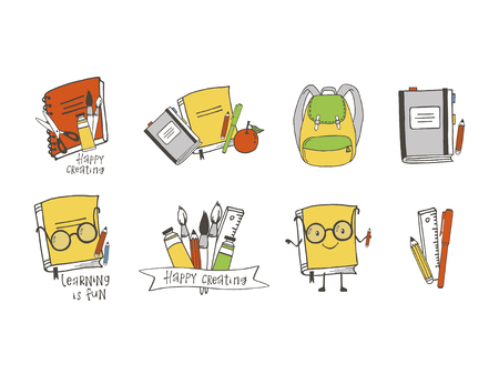 Set of hand drawn school objects. Cartoon style. Isolated objects.