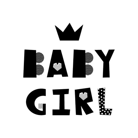 Baby girl creative lettering. Isolated hand drawn lettering. Design element for kid room poster, greeting card, t-shirt print. Illusztráció