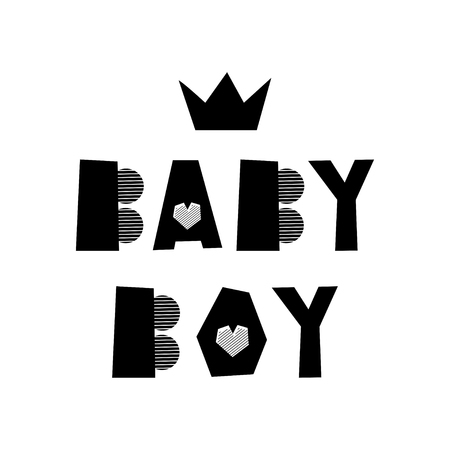 Baby boy creative lettering. Isolated hand drawn lettering. Design element for kid room poster, greeting card, t-shirt print.