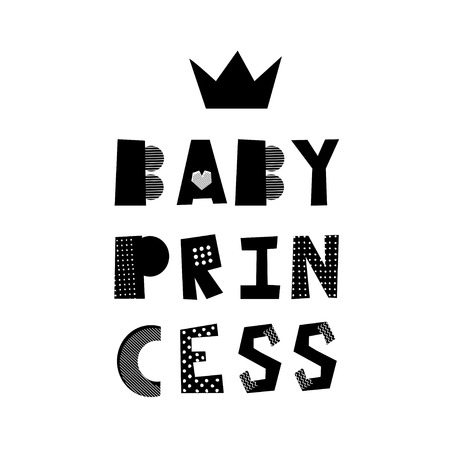 Baby Princess creative lettering. Isolated hand drawn lettering. Design element for kid room poster, greeting card, t-shirt print.