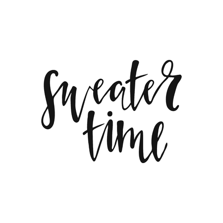 Sweater time lettering on white background.