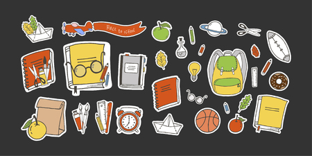 Set of hand drawn school time objects. Airplane with banner and back to school lettering. Cute stickers.