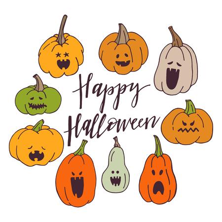 Happy Halloween greeting card with hand drawn pumpkins. Vector illustration. Design elements for Halloween celebration. Illusztráció