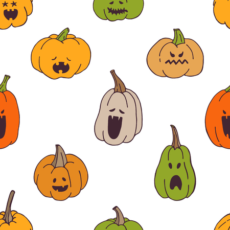 Seamless pattern with pumpkins with spooky faces. Design elements for Halloween party, textile, wallpaper, wrapping paper.
