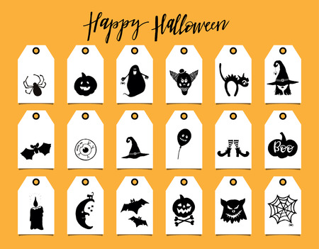Set of tags with Halloween symbols. Hand drawn design elements on white tags.