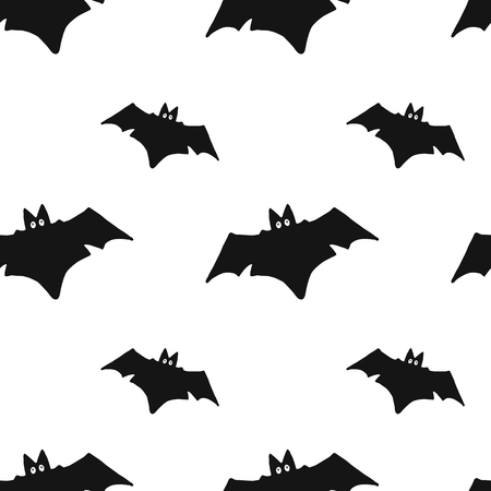 Seamless pattern with hand drawn bats on white background. Design element for holiday decor, fabric, textile, wrapping paper.
