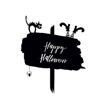 Happy Halloween poster with cat, witch shoes and spider. Hand drawn design elements for decoration.