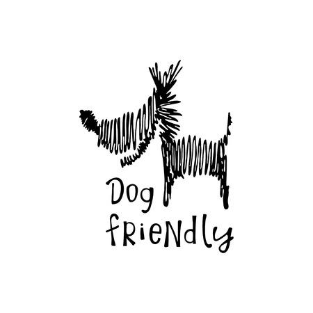 Dog friendly lettering and dog on white background. Illusztráció