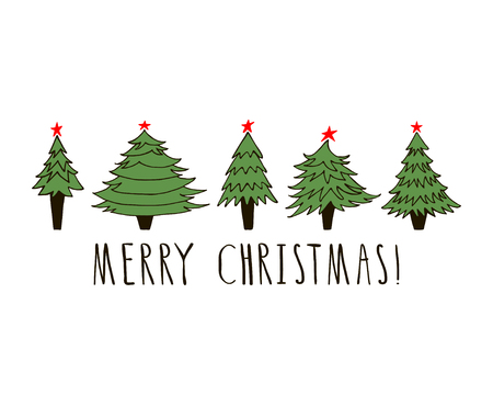 Merry Christmas greeting card on white background.