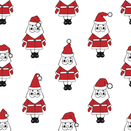 Seamless pattern with santa claus in hats in different forms. Illusztráció