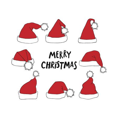 Santa Claus red hat set with Merry Christmas lettering. Illusztráció