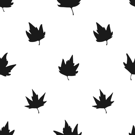 Seamless pattern with maple leaves on white background.