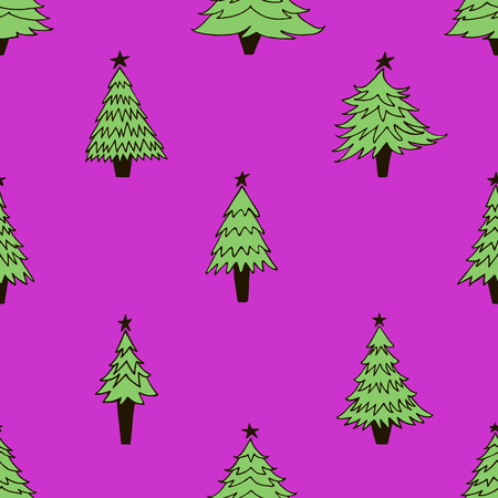 Pattern with Christmas trees on purple background.
