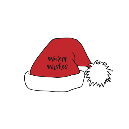 Santa Claus red hat with warm wishes lettering. Christmas decoration.