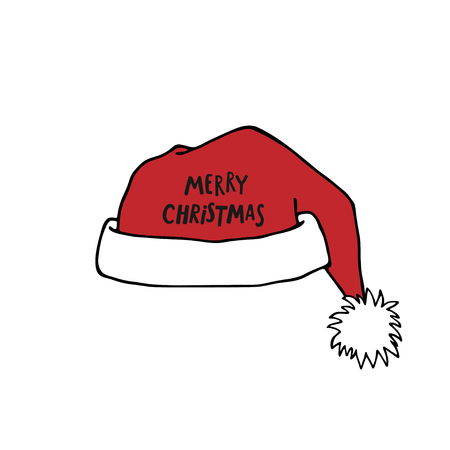 Santa Claus red hat with Merry Christmas lettering. Christmas decoration.