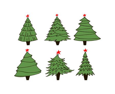 Set of green fur trees
