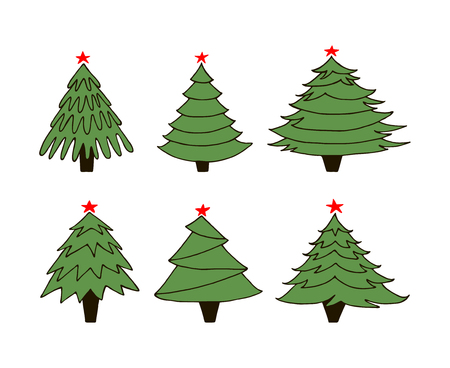 Set of new year trees