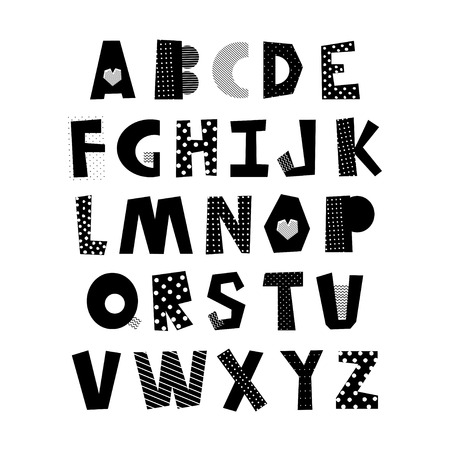 Hand drawn creative alphabet from A to Z. Letters with textured effect.
