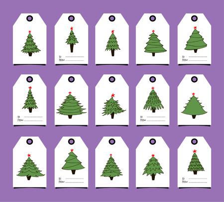 Gift tags with New Year trees Illusztráció