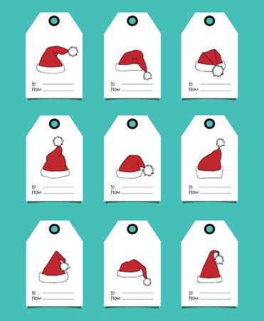 Gift tags with Santa hats