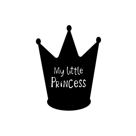 Black crown with my little princess text. Greeting card, t-shirt print
