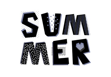 Hand drawn decorative text Summer. Design element for bag, print, greeting card, poster, t-shirt print. Memphis style.